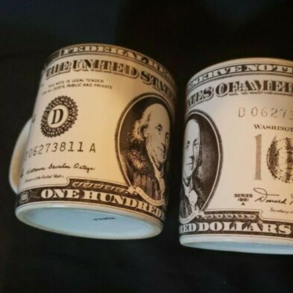 Other - 2 US $100 Bill Coffee Mug 12 Ounces  PAIR